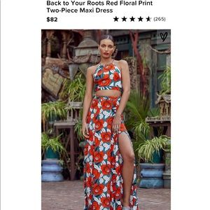 Lulus Red Floral Print Two Piece Maxi Dress